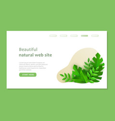 Eco landing page template with green plants in vector