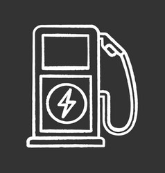 electric vehicle charging station chalk icon vector image