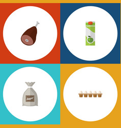 Flat icon meal set of sack eggshell box packet vector
