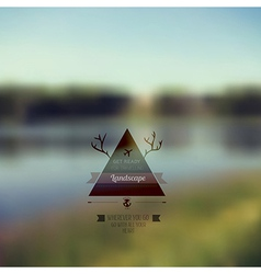 forest landscape with triangle badge Outdoor vector image