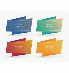 four origami banners with text space vector image