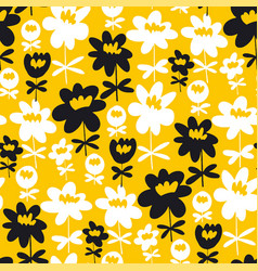 fun summer flowers silhouette seamless pattern vector image