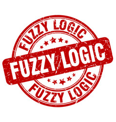 Fuzzy logic red grunge stamp vector