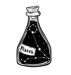 glass bottle with zodiac pisces constellation vector image