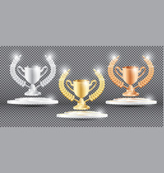 gold silver and bronze trophy with laurel wreath vector image