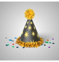 Grey party hat with yellow stars vector