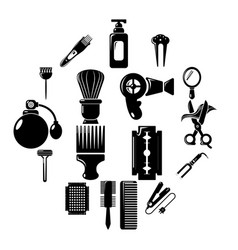 hairdresser icons set simple style vector image