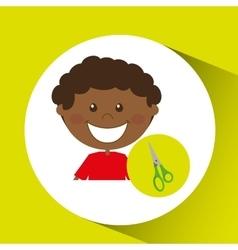 happy boy student scissors graphic vector image