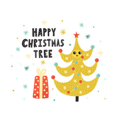 happy christmas tree cute print winter funny vector image