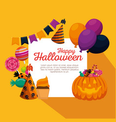 Happy halloween celebration set icons vector