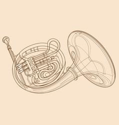 Horn gold brass instruments art line vector