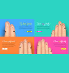 i love my family and friend card set vector image
