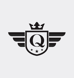 letter q shield wing vector image