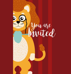 Lion cute animal cartoon invitation card vector