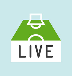 Live streaming at football pitch flat icon soccer vector