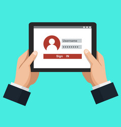 login conceptdata protection internet security vector image