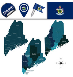 Map of maine with regions vector