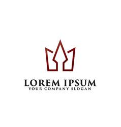 minimalist crown logo design concept template vector image