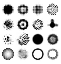 Monochrome halftone effects circles set vector