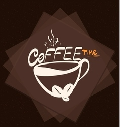 Morning cup coffee on color background vintage vector