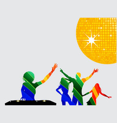 Multicoloured silhouette of dancers and dj vector