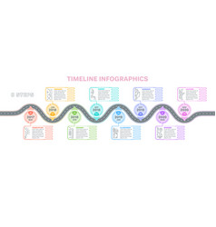 Navigation map infographics 8 steps timeline vector