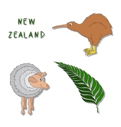 New Zealand symbols Set of cartoon colored icons vector image