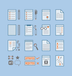 Office paper documents and stationery signs icons vector