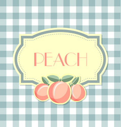 Peach label in retro style on squared background vector