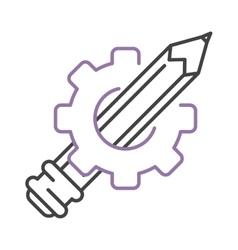 Pen icon drawing gear vector