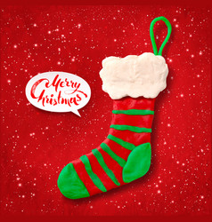 Plasticine figure of christmas sock vector