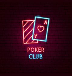 poker club neon label vector image