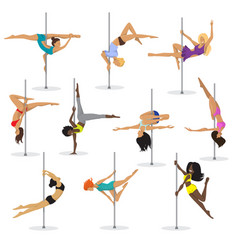 Pole dance girl set woman poledance dancer vector