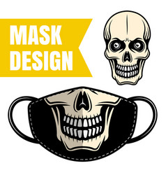 protective fabric mask design with skull vector image