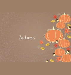 pumpkin leaves nut and flower flat frame vector image