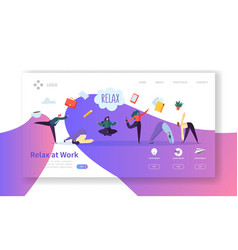 relax at work coffee break landing page template vector image