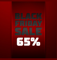 Ribbon with black friday sale sixty five percent vector