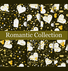 Romantic seamless pattern set love background vector