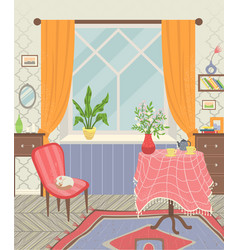 Room interior home table and armchair vector