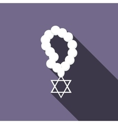 Rosary with Star of David icon flat style vector image