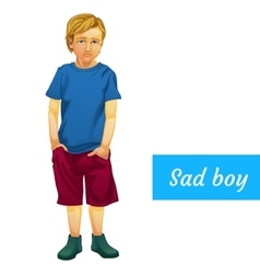 Sad boy in summer clothes isolated character vector image vector image
