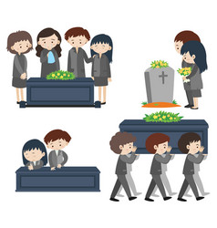 Sad people at funeral vector