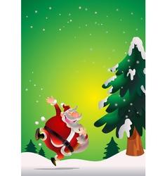 Santa Claus poster green vector image