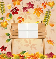 School wooden board with autumn leaves vector image