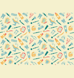 Seamless pattern on the theme of dentistry vector