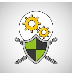 security system data gear engineer vector image