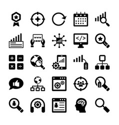 seo and digital marketing glyph icons 10 vector image