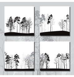 set different landscapes with pine trees vector image