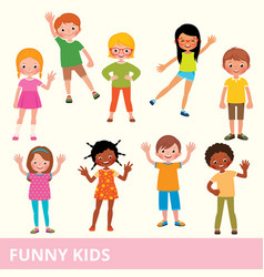 Set of children of different nationalities vector
