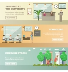set of education concept horizontal banners vector image